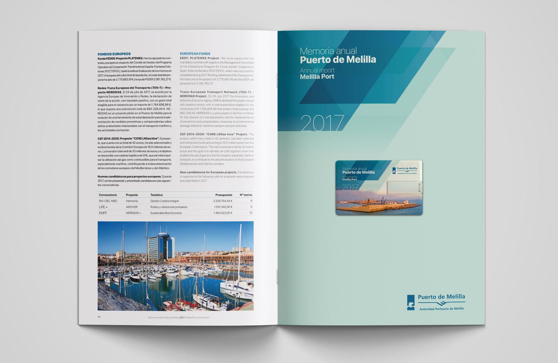 Diseño editorial Memoria anual Puerto de Melilla