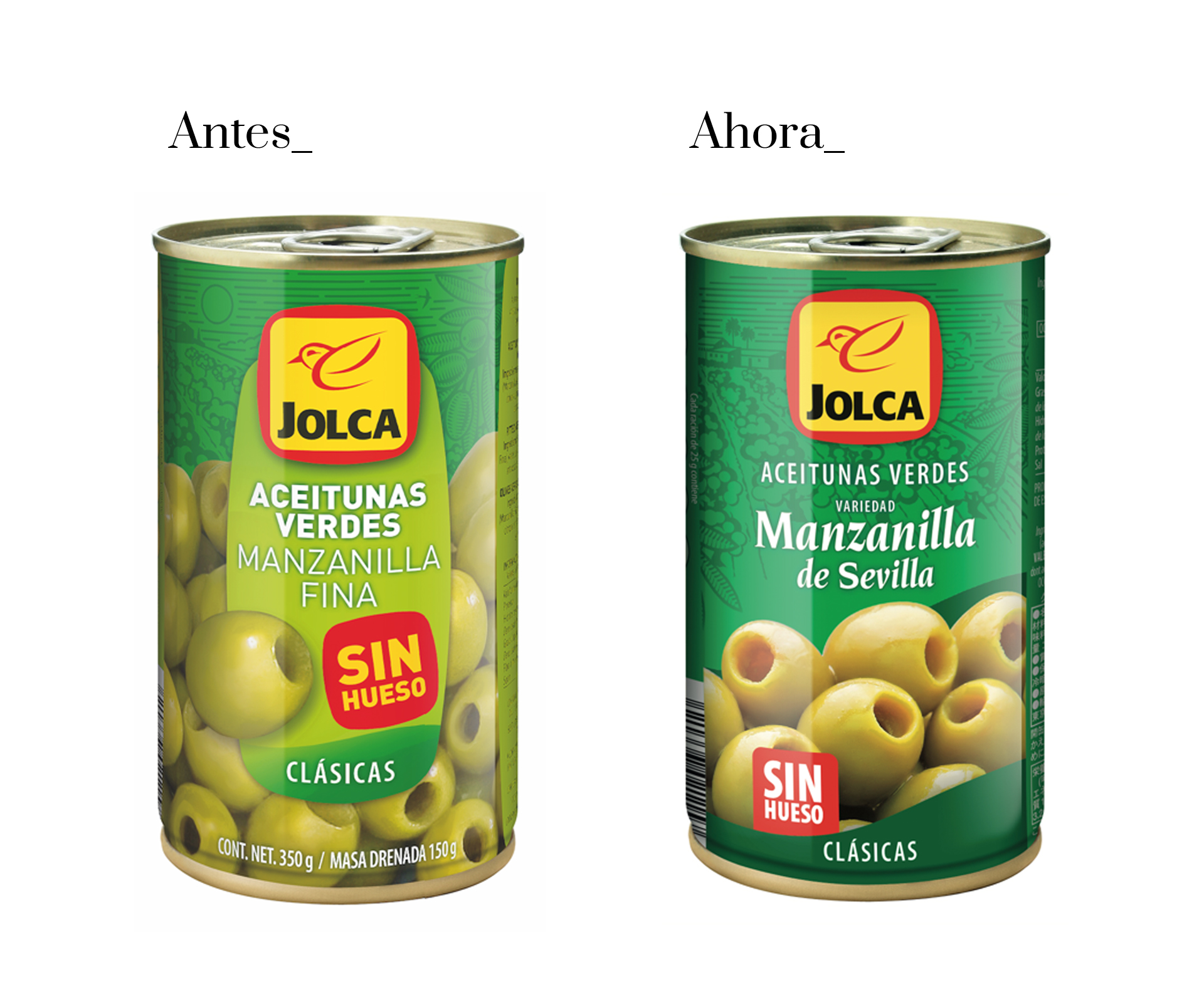 Restyling packaging de aceitunas verdes de Jolca