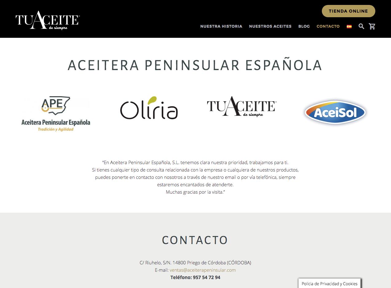 tienda online tuaceitedesiempre.com